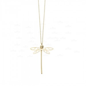 14K Solid Yellow Gold 18'' Butterfly Pendant Necklace Christmas Gift Jewelry