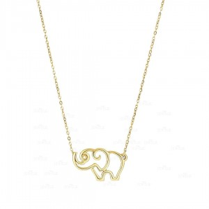 14K Yellow Gold Elephant Charm Pendant Necklace Fine Jewelry Christmas Gift
