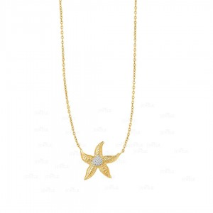 14K Yellow Gold Starfish Sea Life Pendant Necklace Fine Jewelry Christmas Gift