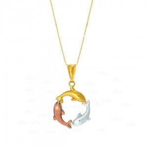 14K Yellow Gold Tri-Color 3-Circling Shiny Dolphin Pendant Necklace Fine Jewelry