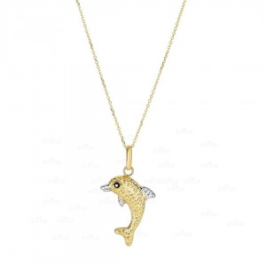 14K Yellow+White Gold Shiny+Diamond Cut Dolphin Pendant Necklace Fine Jewelry