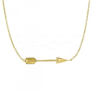 14K Gold Shiny 30 mm Side Ways Arrow Anchored Necklace with Lobster Clasp