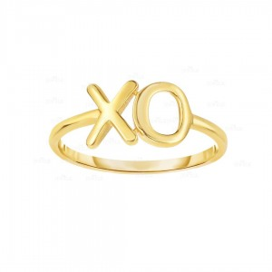 14K Yellow Gold Shiny XO Ring Fine Jewelry Christmas Gift For Her Size-7 US