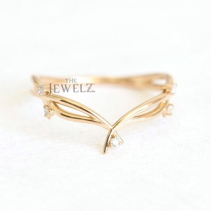 14K Gold 0.06 Ct. Genuine Diamond Leaf Floral Delicate Ring Fine Jewelry