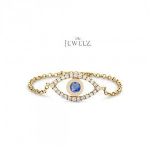 14K Gold Genuine Diamond And Blue Sapphire Evil Eye Chain Ring Christmas Gift