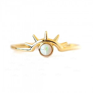 14K Gold 0.20 Ct. Genuine Opal Gemstone Beam Ring Fine Jewelry Size-3 to 8 US