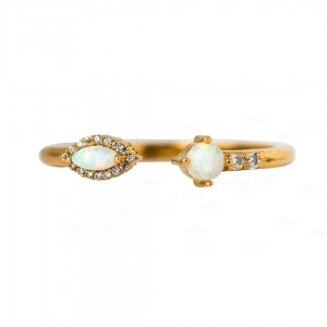 14K Gold Genuine Diamond And Opal Gemstone Open Cuff Promise Ring Fine Jewelry
