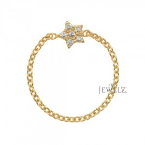 14K Gold 0.05 Ct. Genuine Diamond Star Chain Ring Special Christmas Gift For Her