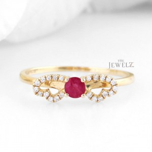 14K Gold Genuine Diamond And Ruby Gemstone Pre Engagement Ring Fine Jewelry