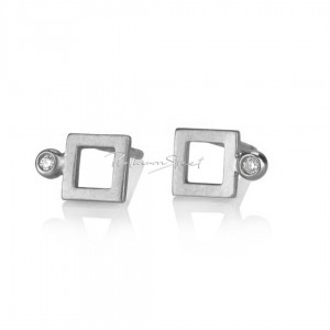 950 Platinum 0.03 Ct. Genuine Diamond Square Shape Studs Earrings Fine Jewelry
