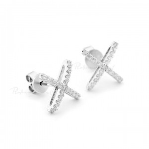950 Platinum 0.30 Ct. Genuine Diamond Criss Cross Wedding Earrings Fine Jewelry