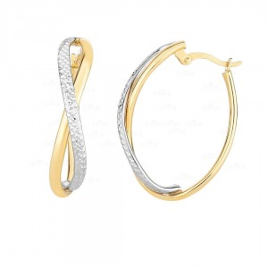 Solid 14K Gold Two Tone Infinity Oval Shiny Diamond Cut Hoop Earrings Jewelry