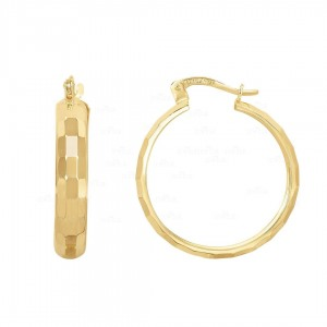 Solid 14K Plain Gold Shiny Reflective Rectangles Round Hoop Earring Fine Jewelry