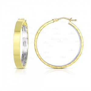 Solid 14K Gold Square Tube Double Tone  Hoop Earrings Handmade Fine Jewelry