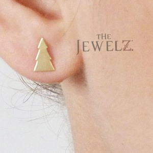 14K Solid Gold Christmas Tree Xmas Studs Earrings Jewelry Gift For Her