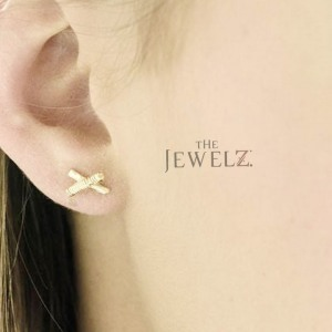 14K Solid Gold Wire Wrapped Tiny X Helix Studs Earrings Fine Jewelry Gift