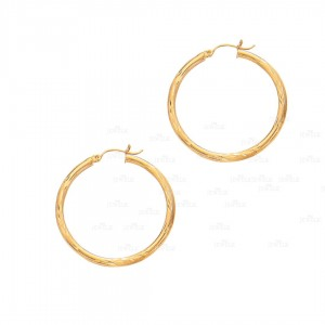 Solid 14K Yellow Gold Shiny Diamond Cut Round Tube Hoop Earrings Fine Jewelry
