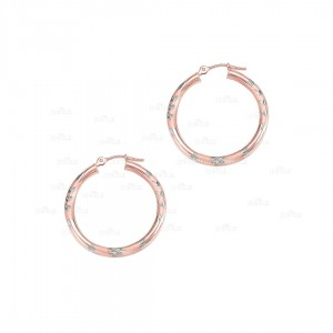 Solid 14K Rose Gold Shiny Diamond Cut Round Tube Hoop Earrings Fine Jewelry