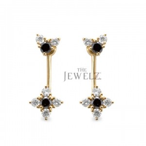 14K Gold 0.70 Ct. Genuine White-Black Diamond Flower Design Jacket Stud Earrings