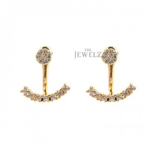 14K Gold VS Clarity F-G Color Genuine Diamond Ear Jacket Earring Wedding Jewelry