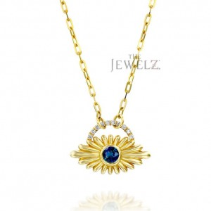 14K Gold Genuine Diamond-Blue Sapphire Gemstone Unique Flower Pendant Necklace