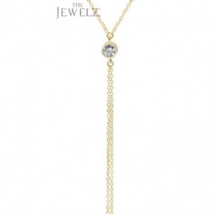 14K Gold 0.25 Ct. VS Clarity Genuine Diamond Drop Lariat Necklace Gift For Her