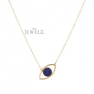 14K Gold 0.16 Ct. Genuine Sapphire Gemstone Evil Eye Charm Necklace Fine Jewelry