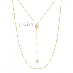 14K Gold Genuine Freshwater Pearl Drop Lariat And Long Two Necklaces Set Gift