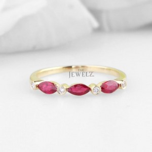 14K Gold Genuine Diamond And Marquise Ruby Gemstone Valentine's Ring For Her