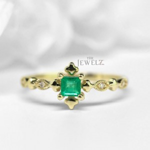14K Gold Genuine Diamond And Square Emerald Vintage Style Ring Fine Jewelry