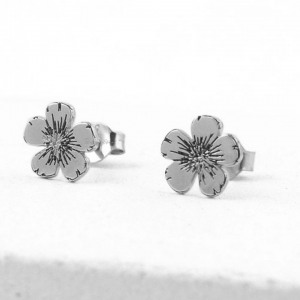 950 Platinum Minimalist Floral Style Studs Earrings Gift For Her Fine Jewelry