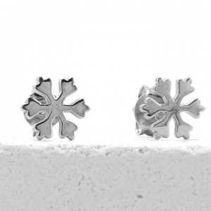 950 Platinum Minimalist Snowflake Studs Earrings Gift For Her Fine Jewelry