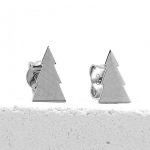 950 Platinum Christmas Tree Xmas Studs Earrings Jewelry Gift For Her