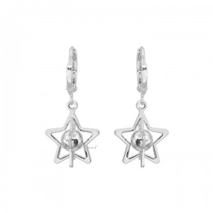 950 Platinum Galaxy Star Hoop Earrings Fine Jewelry Gift For Her