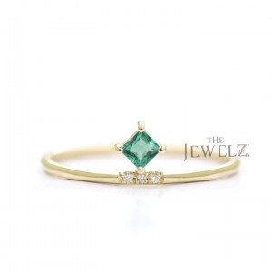 14K Gold Genuine Diamond-Emerald Gemstone Minimalist Stacking Ring Fine Jewelry
