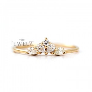 14K Gold 0.50 Ct. Genuine Round-Pear Diamond Wedding Band Ring Gift For Her