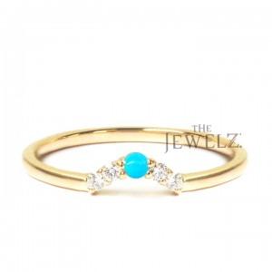 14K Gold Genuine Diamond-Turquoise Gemstone Crown Wedding Ring Fine Jewelry