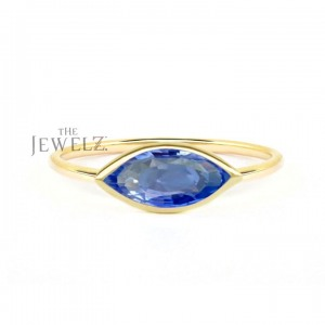 14K Gold 0.50 Ct. Solitaire Genuine Marquise Shape Blue Sapphire Gemstone Ring