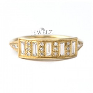 14K Gold 0.50 Ct. Genuine Round-Baguette Diamond Bar Ring Fine Jewelry