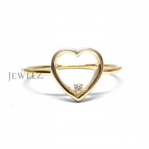 14K Gold 0.02 Ct. Genuine Diamond Love Heart Ring Valentine's Gift For Her