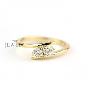 14K Gold 0.13 Ct. Genuine Diamond Bypass Design Minimalist Ring Fine Jewelry