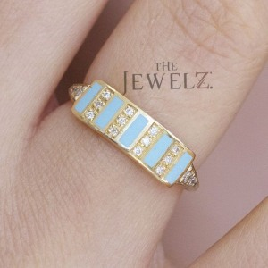 14K Gold Genuine Diamond And Turquoise Bar Ring Fine Jewelry Gift For Her