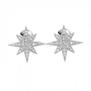 950 Platinum 0.25 Ct. Genuine Diamond Starburst Earrings Christmas Fine Jewelry