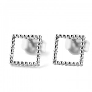 950 Platinum 8 mm Beaded Square Shape Minimalist Studs Earrings Fine Jewelry