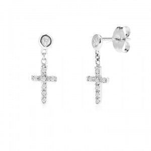 950 Platinum 0.20 Ct. Genuine Diamond Crucifix Cross Jesus Piece Fine Earrings