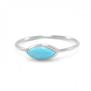 950 Platinum 0.52 Ct. Genuine Marquise Cut Turquoise December Birthstone Ring