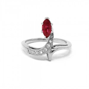 950 Platinum Genuine Diamond - Ruby July Birthstone Serpent Snake Ring Jewelry