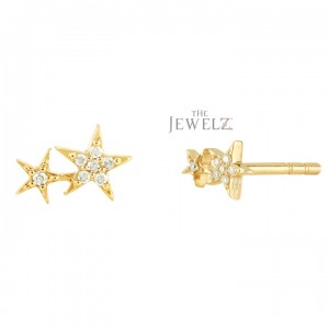 14K Gold 0.15 Ct. Genuine Diamond Two Star Design Stud Earring Celestial Jewelry