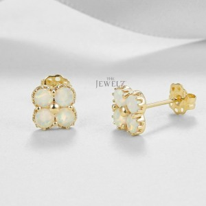 14K Gold 1.50 Ct. Genuine Opal Gemstone Four Clover Floral Studs Earrings