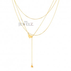 14K Solid Gold Love Heart Drop Lariat Multi Layered Necklace Fine Jewelry